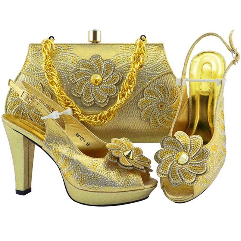 Ensemble Blue Sac Haute Dans Appliques royal Et Nigérian Assortis Pour Fête Talons Avec peach Sacs La Femmes Chaussures Gold lemon Les Green purple red Fleur Pompes QrxBoeWdC