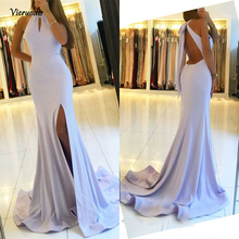 Glamorous Halter Mermaid Bridesmaid Dresses Sexy Backless Side Split Floor Length Party Gowns Robe De Soiree Prom Dress