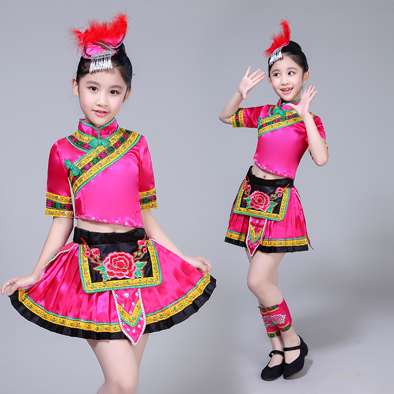Childrens Miao dance performance costumes girls dancing costume Chinese minorities skirts Dong, Yi, Tujia, Yao clothing
