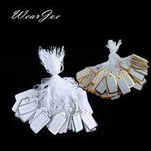 O envio gratuito de 100 pçs corda de jóias cabo preço tags impressão personalizada em branco etiqueta de prata de ouro acessórios de exibição loja de jóias
