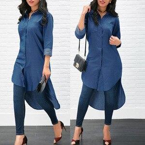 Image 5 - T shirt Ön Kısa Mavi Uzun Kollu Bluz Müslüman Moda Kadın Elbise Abaya Artı boyutu Moda Hırka Kimono