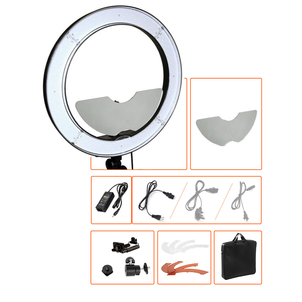 18 55W 5500K Studio Dimmable LED DSLR Camera Mirror Video Photo Ring Light Kit with Color