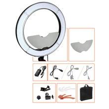 """18 """"55 W 5500 K Stüdyo Dim LED DSLR Kamera Ayna Video Fotoğraf Halkası Renk Makyaj için Filer ve Taşıma Çantası ile ışık Kiti Fotoğraf"""
