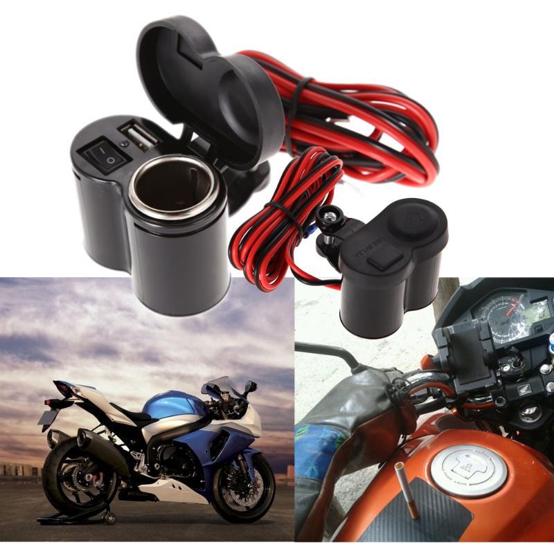 12v-24v-motorcycle-scooter-handlebar-usb-charger-waterproof-blue-led-indicator-cigarette-lighter-socket-plug-moto-accessorie-new