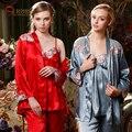 Três-pedaço 2016 Outono Pijamas para As Mulheres Moda Elegante Pijama De Seda Camisola Pijama Mulheres Sleepwear Cetim Pijamas das Mulheres