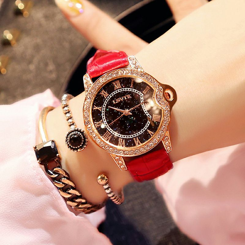 Women Rhinestone Watch luxury Leather brand women's Watches Hot fashion Women Dress Watch Relogio Feminino