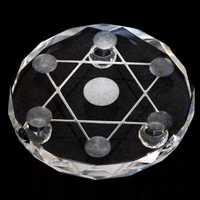 New 7 star plate Asian Quartz Crystal Healing Ball Sphere Stand
