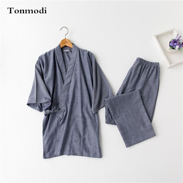 Hombres pijamas de gasa ropa de dormir kimono de estilo japonés ropa de algodón pijama conjunto de salón de Los Hombres