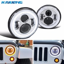 цена на 45w 7Inch Round LED Projector Headlights Hi/lo Beam Car DRL for Jeep Wrangler Jk TJ FJ cruiser Hummer Trucks Motorcycle Headlamp