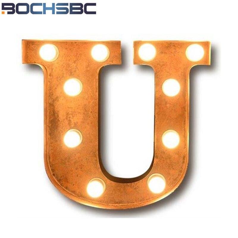 BOCHSBC Винтаж Алфавит U Свет Книги по искусству деко логотип бра светодиодный светильник для кафе-бар Гостиная столовая проход коридор лампад...