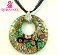 RED SNAKE Green And Silver Round Murano Glass Pendant
