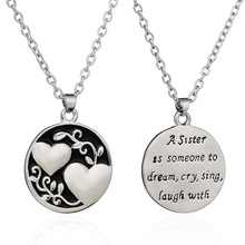 Pendant Chain Necklace Silver Double Love Heart