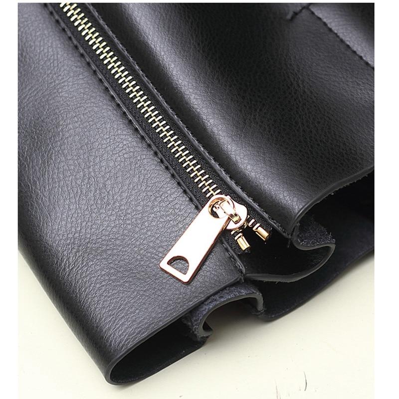 2017 modë Qese e zezë lëkure e zezë lëkure çanta për gratë - Çanta dore - Foto 4