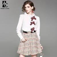 Summer Spring Woman Clothing Set Rhinestone Beading Blue Red Bow White Shirt Colorful Strip Pattern Mini