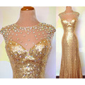 Simple Gold Sequin Sheer Beaded Neck Sleeveless Sheath Floor-Length Bridesmaid Dresses