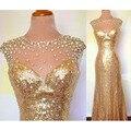 Simples Ouro Lantejoula Frisada Sheer Neck Mangas Bainha do Assoalho-Comprimento Vestidos de Dama de honra