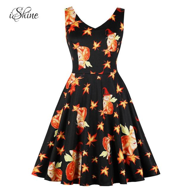 3de27a407caa Retro Vintage Women Car Printed Halloween Party Midi Dress Sleeveless V Neck  Slim Flare Swing Pin-up Dress Plus Size Vestido 4XL