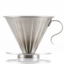 ROKENE Reusable Pour Over Coffee Filter Cone Dripper Paperless Stainless Steel V60 Style Maker with perfect Stand