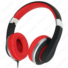 kanen i20 Black Red Foldable Stereo Adjustable Headphones with Microphone for Children Teenager Adolescent Gift