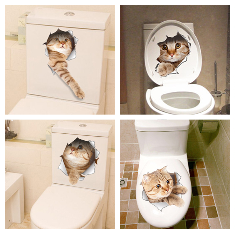 Cat vivid 3d smashed switch wall sticker bathroom toilet for Bathroom decor stickers