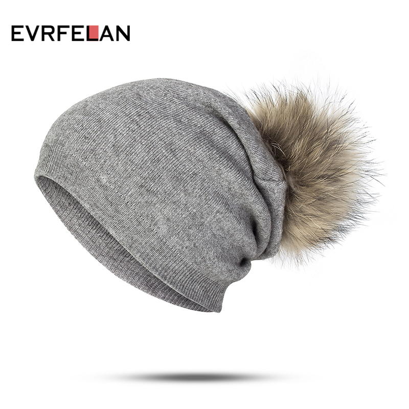 12920be3dee Evrfelan Winter Women Hat Ball Cap Pom Poms Girl s Hat Knitted Beanies Cap  Hat Thick Female