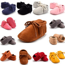Autumn Winter Baby Boy Girl Baby Soft First Walkers Shoes Bebe Fringe Soft Soled Non-slip Footwear Crib Leather Shoes  Newborn
