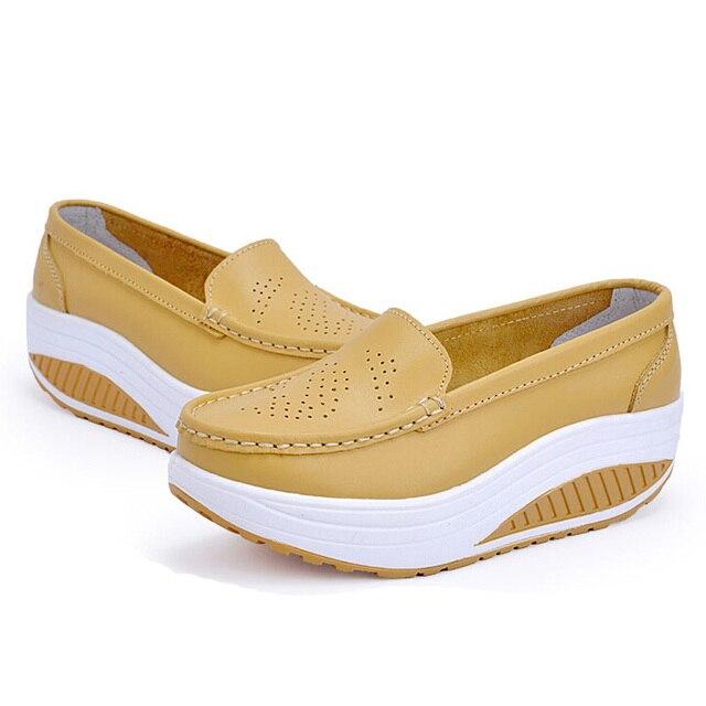 Women's Platform Shoes For Women Genuine Leather Footwear Woman White Black Pink Comfort Nurse Wedges Breathable Swing Pumps