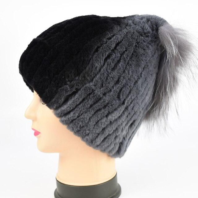 Rex Rabbit Fur Hat Women Winter Real Fur Caps With Pom Pom Silver Fox Fur Balls Hats Russian Ushanka Cap Hat Beanies For Women
