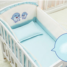 hot deal buy 5pcs/set cartoon animated crib bed bumper for newborns 100%cotton comfortable children's bed protector baby washable bedding set