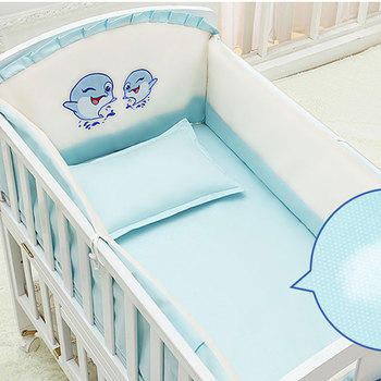 цена 5Pcs/Set Cartoon Animated Crib Bed Bumper for Newborns 100%Cotton Comfortable Children's Bed Protector Baby Washable Bedding Set онлайн в 2017 году