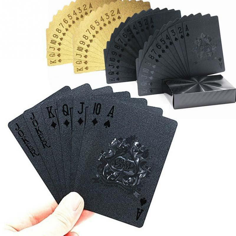 1 Set Hot Selling High Quality Durable Creative Black Gold Poker Cards Waterproof Collective Playing Cards