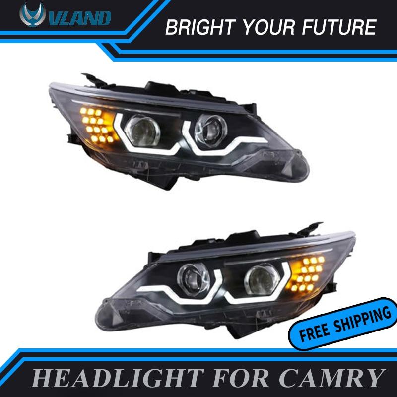 Новые фара для Toyota Camry 2012 2015 Би ксеноновые проектора фары объектив + ксеноновые фары сборки