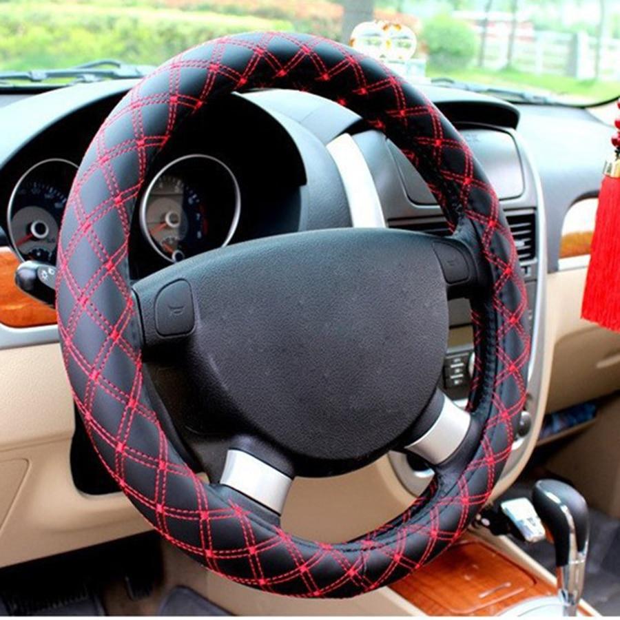 KKYSYELVA Rood Stuurwiel Leer Autostuurwiel Autohoezen Stuurwielen 38 cm Deksels Zwarte wieldop