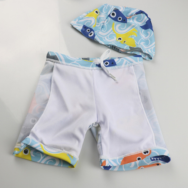 Summer Beach Swim Shorts+Hat Kids Cartoon Shark Swimsuit Children Water Sport Trunks Wear Bathing Surfing Suit Baby Boy Swimwear