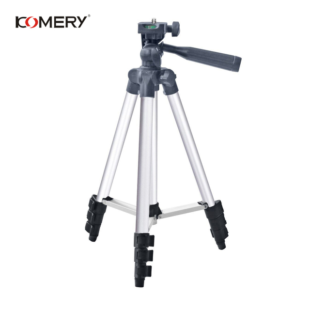 "KOMERY חצובה מחזיק נייד מקצועי מצלמה חצובה אלומיניום חצובה עבור טלפון 1/4 ""בורג 360 תואר tripode para camara"