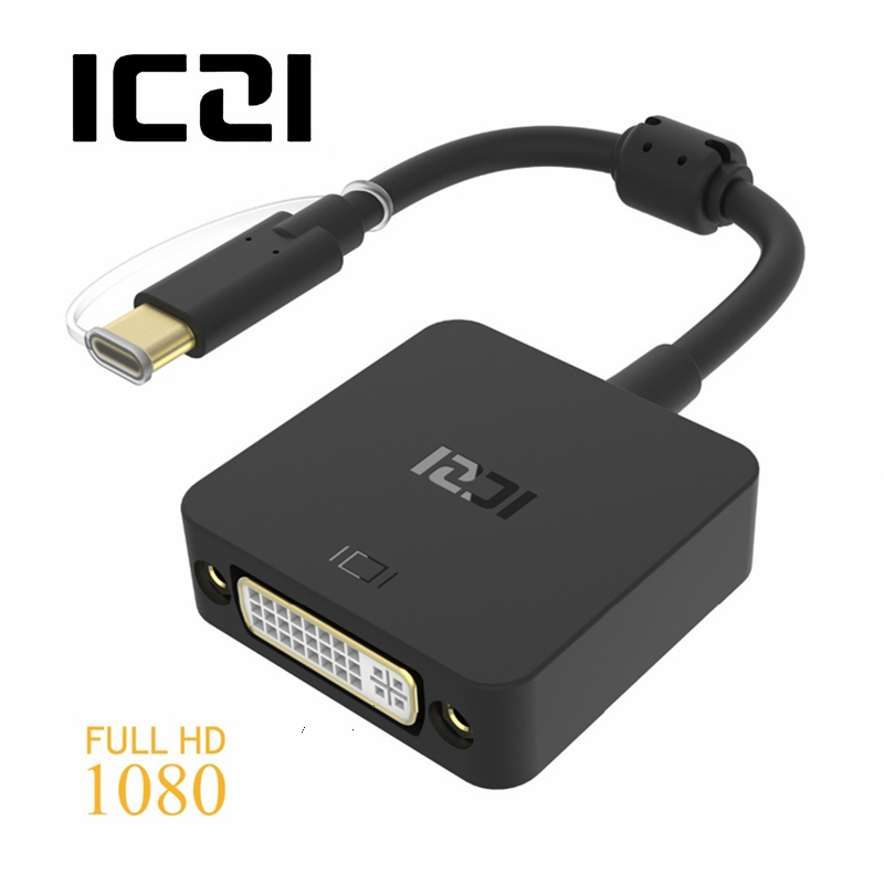 ICZI USB 3 1 Type C (USB-C & Thunderbolt 3 Port Compatible) to DVI Adapter  for Macbook 12inch Chromebook Free shipping