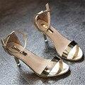 Элегантный европейский стиль женщины гладиатор сандалии на высоких каблуках обувь sexy lady глянцевый золото насосы стилет летние женские туфли XK021705