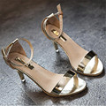 elegant euro style women gladiator sandals high heels shoes sexy lady glossy gold pumps stiletto summer female shoes XK021705