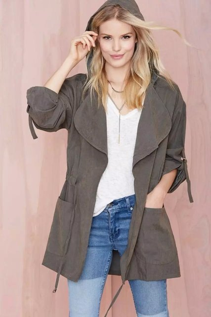 2016Hot saleWomen капюшоном твердые пальто Регулируемый Талия повседневная свободные длинным рукавом