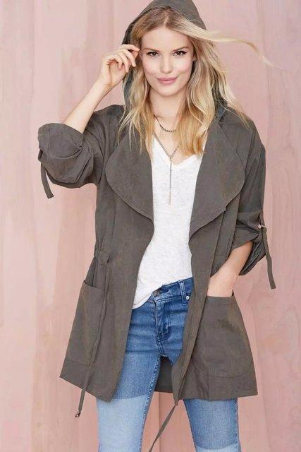 2016Hot saleWomen sólida com capuz casacos Cintura Ajustável casual solto manga comprida tops