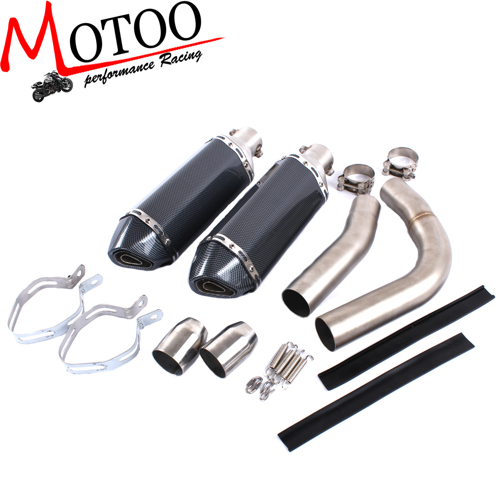 Motoo - Motorcycle Exhaust middle pipe + exhaust  Muffler for YAMAHA R1 2009-2014   Slip-On  цена и фото