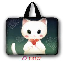 "Pretty White Cat 10″ 11.6″ 13.three"" 13″ 14″ 17″ 15″ 15.6″ Laptop computer Sleeve Case Bag Cowl+Cover Deal with For HP DELL ASUS Toshiba Acer"