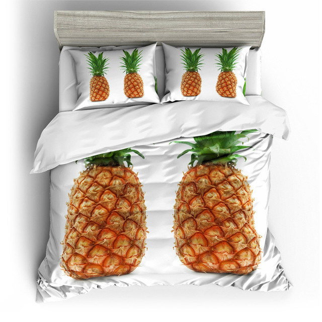 Watercolor Pineapple Bedding Set Colorful Printed Quilt Cover with Pillowcases Peace Design Bed Set 3-Piece US AU EU Size