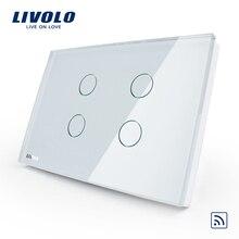 Livolo стандарт США 4 банда настенный светильник сенсорный выключатель дистанционного управления, AC110~ 250 В, кристальная стеклянная панель. C304R-81, без пульта дистанционного управления