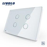 Üretici, livolo dokunmatik ve uzaktan anahtarı, abd standart, vl-c304r-81, kristal Cam Panel, duvar işık dokunmatik anahtarı + led göstergesi