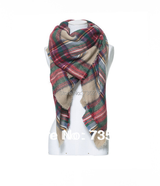 za Winter 2015 Tartan Scarf Desigual Plaid Scarf New Designer Unisex Acrylic Basic Shawls Women's Scarves Big Size 140 *140 CM