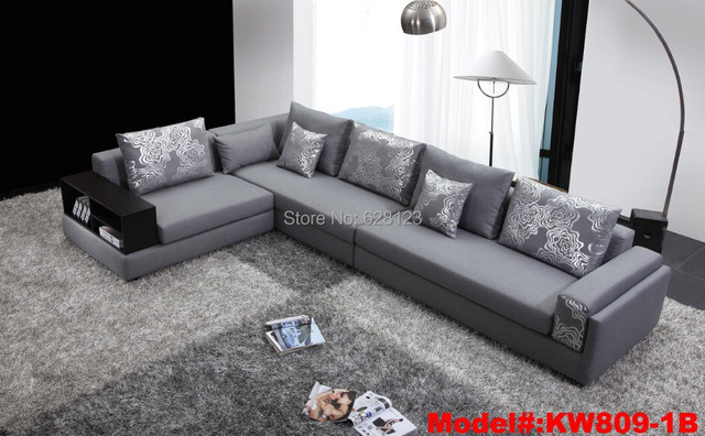 KW809 Fabric Sofas With Wood Armrest Corner Sofa With Storage Space Special  Offer