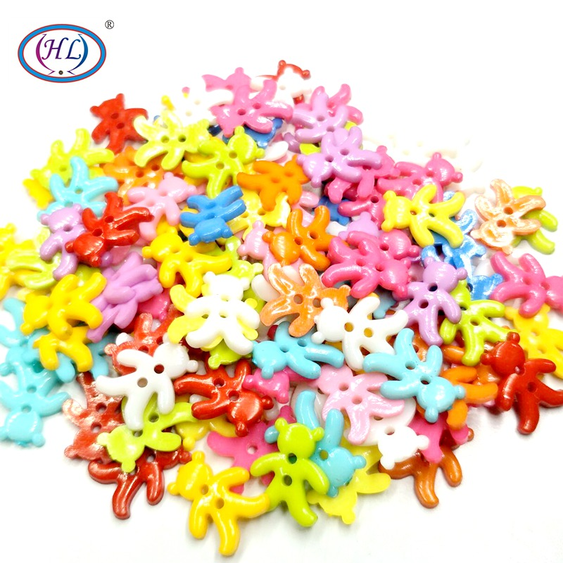 HL 50/100/200pcs 15mmx13mm Mixed Color 2 Holes Flatback Bear Plastic Buttons DIY Scrapbooking Kid's Apparel Sewing Notions
