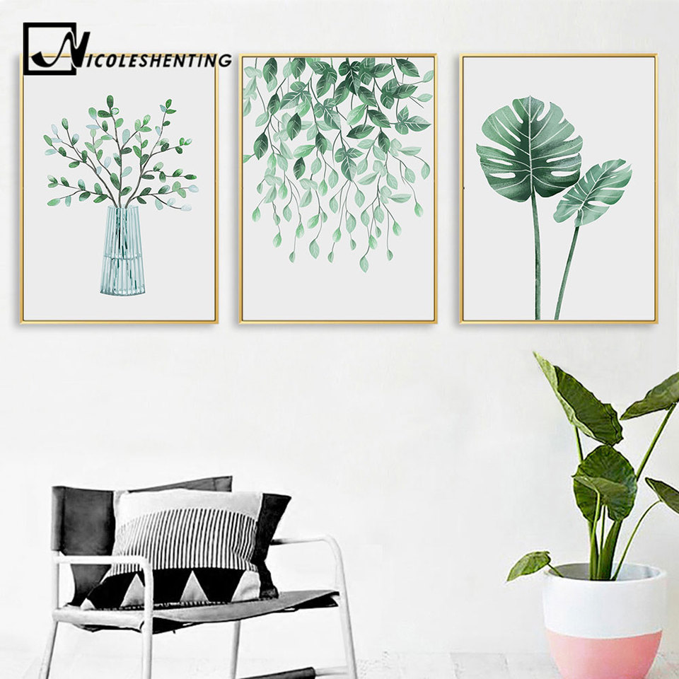 Plant Leaf Canvas Botanical Poster Nordic Wall Art Print Scandinavian Decor