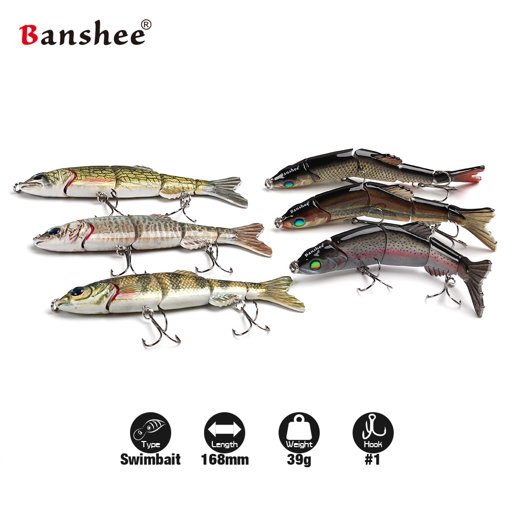 Banshee 6pcs/lot 168mm 38g VMJM05-6.5 Pike Fishing Lure Sinking 5 sections Mulit Jointed Swimbait Wobblers Hard Artificial Bait banshee 127mm 21g nexus voodoo atj01 swimbait two sction multi jointed topwater walk dog stickbait floating pencil